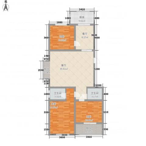 新升・琦锋苑3室2厅2卫1厨100.03㎡户型图