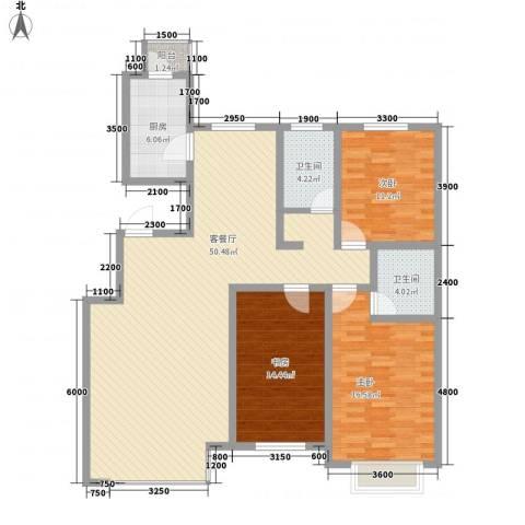 亚泰桃花苑3室1厅2卫1厨154.00㎡户型图