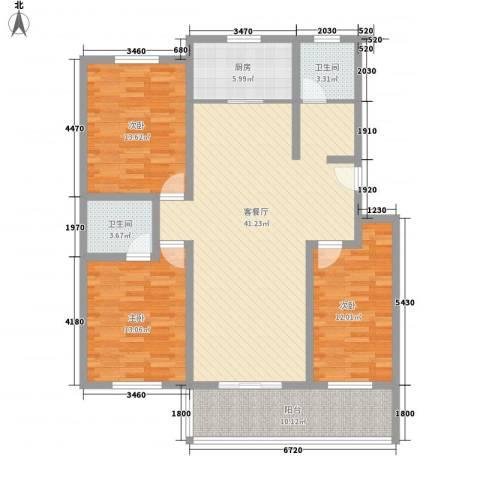 活力康城3室1厅2卫1厨147.00㎡户型图