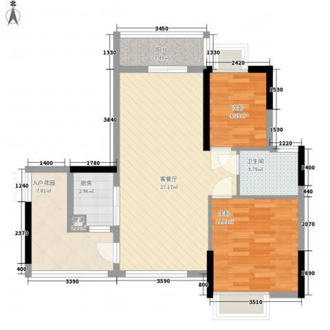 山畔阳光2室1厅1卫1厨92.00㎡户型图