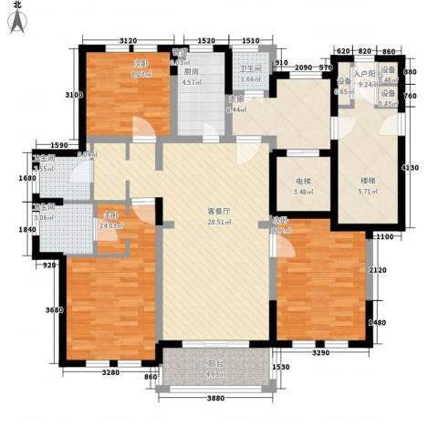 古北御庭3室1厅3卫1厨148.00㎡户型图