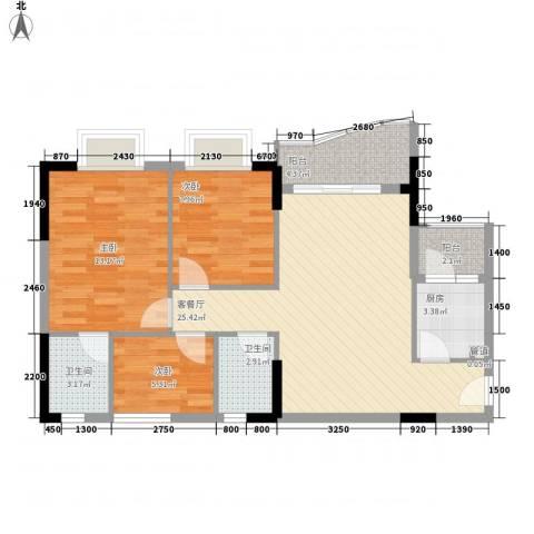 绿杨居3室1厅2卫1厨96.00㎡户型图