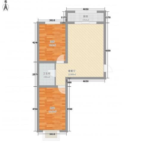 丽水山城2室1厅1卫1厨78.00㎡户型图