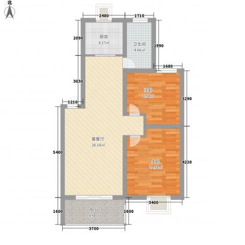 琴韵华庭2室1厅1卫1厨86.00㎡户型图