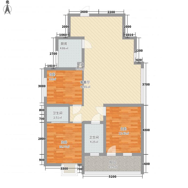 艺苑景观豪庭15.00㎡4#楼C8户型3室2厅2卫