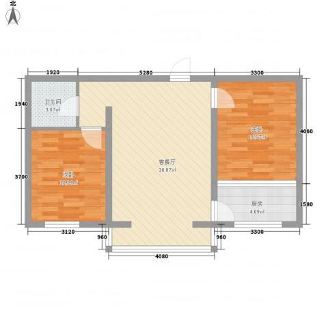 丽水山城2室1厅1卫1厨79.00㎡户型图