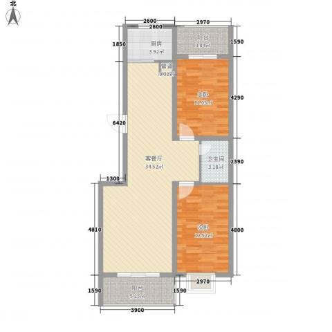 家和苑二期2室1厅1卫1厨103.00㎡户型图