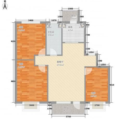 雯霆华苑3室1厅1卫1厨100.00㎡户型图