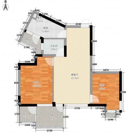长安西街1号2室1厅1卫1厨91.00㎡户型图