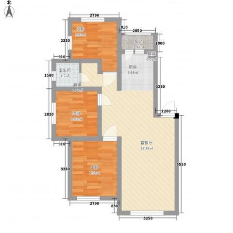 海德堡家园3室1厅1卫0厨76.00㎡户型图
