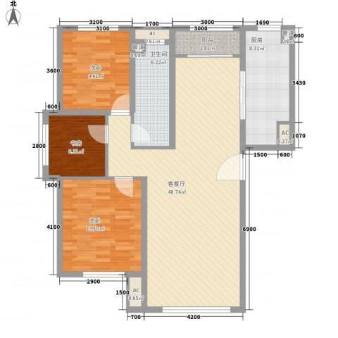 银海新城3室1厅1卫1厨107.00㎡户型图