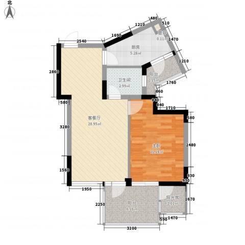 长安西街1号1室1厅1卫1厨74.00㎡户型图