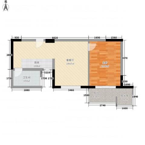长安西街1号1室1厅1卫0厨69.00㎡户型图