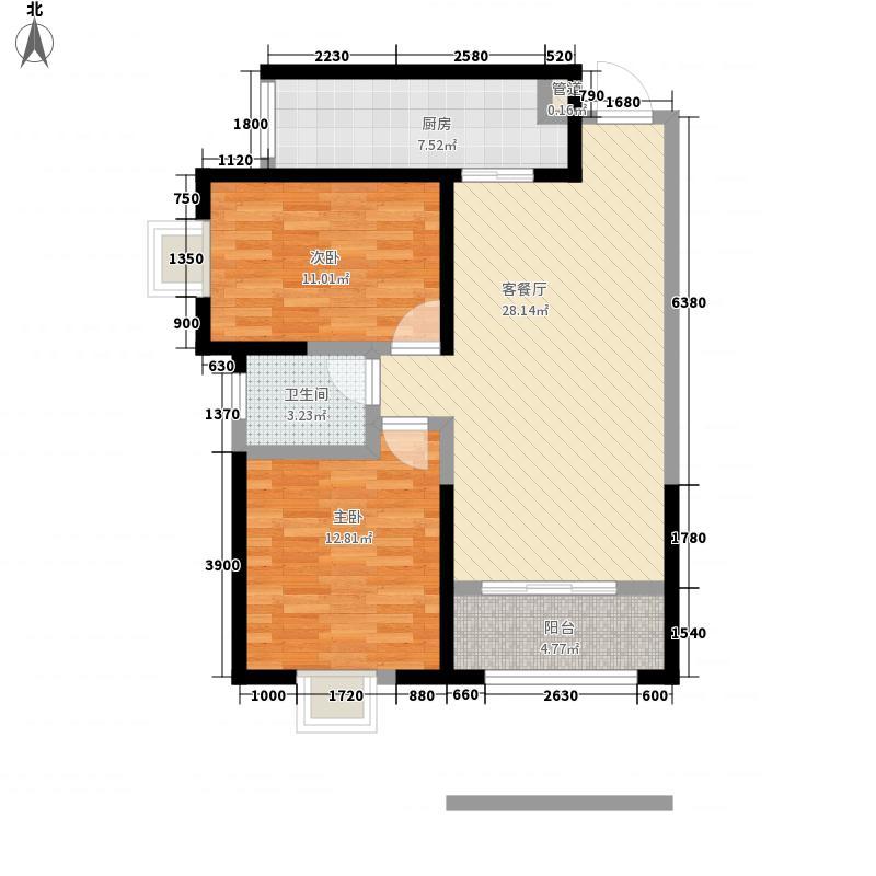 交大桃海花园F户型:两房两厅一卫,98.73平米_调整大小户型2室2厅1卫1厨
