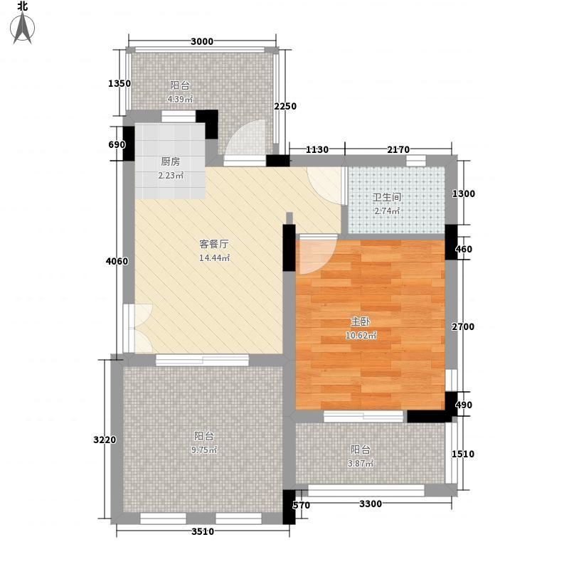 泺海・蝶泉湾54.00㎡洋房-F3户型1室1厅1卫