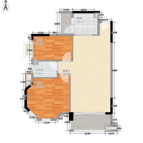奥米茄花园2室1厅1卫1厨85.00㎡户型图
