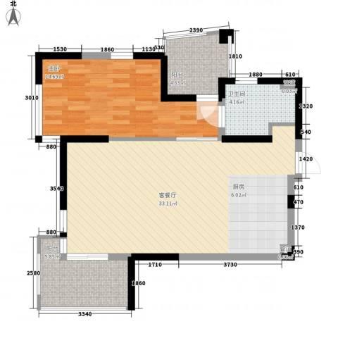 红�香水湾1室1厅1卫0厨79.00㎡户型图