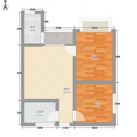 瑞丰新欣城2室1厅1卫1厨64.00㎡户型图