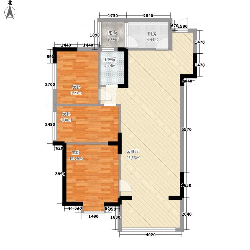 世贸西城13.00㎡K户型3室2厅1卫1厨