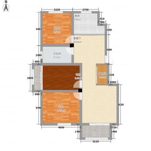 万亿皇冠假日3室1厅1卫1厨112.00㎡户型图