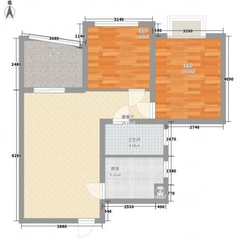 南山六和悦城2室1厅1卫1厨86.00㎡户型图
