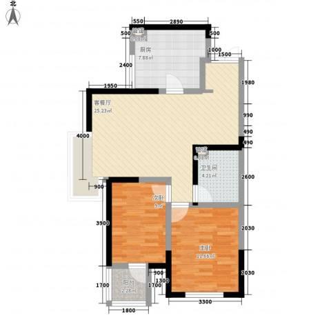 卫津领寓2室1厅1卫1厨60.42㎡户型图