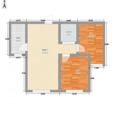 卓扬中华城2室1厅1卫1厨71.00㎡户型图