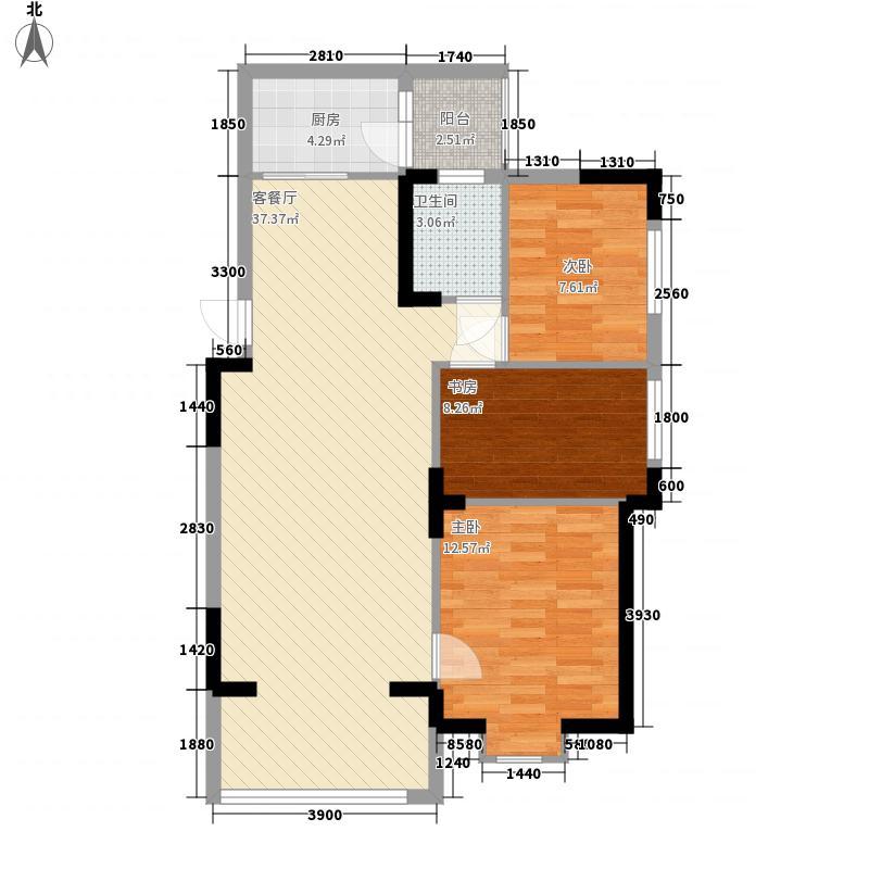 世贸西城7.80㎡Q户型3室2厅1卫1厨