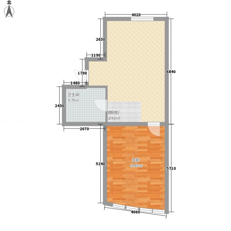 宝翠园户型图20071207-4号楼B户型 1室1厅1卫
