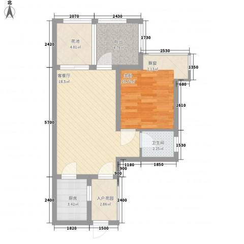 竹悦山水1室1厅1卫1厨52.00㎡户型图