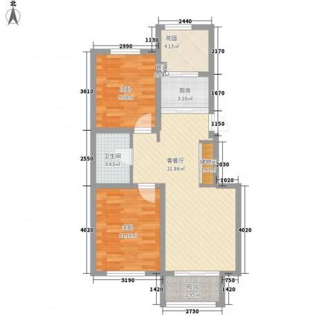 万亿皇冠假日2室1厅1卫1厨84.00㎡户型图