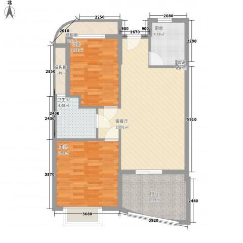 南山六和悦城2室1厅1卫1厨83.00㎡户型图
