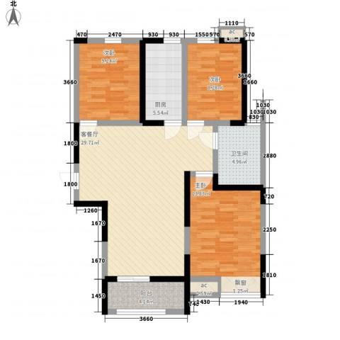鸿泰嘉园三期3室1厅1卫1厨112.00㎡户型图