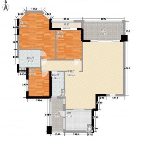翡翠绿洲龙翔台3室1厅2卫1厨149.00㎡户型图