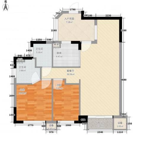 翡翠绿洲龙翔台2室1厅2卫1厨102.00㎡户型图