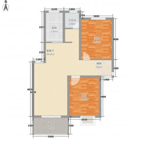 琴韵华庭2室1厅1卫1厨149.00㎡户型图