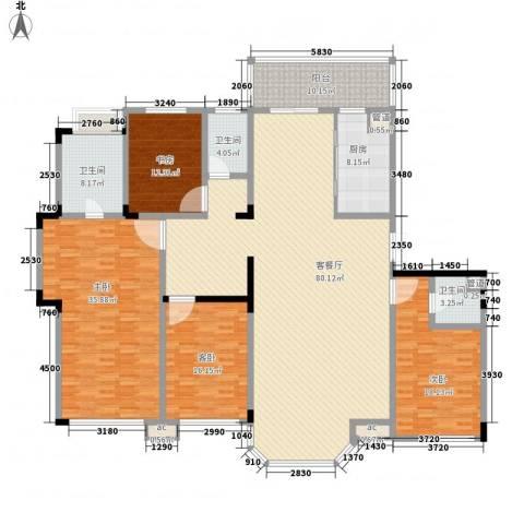 中海南湖1�4室1厅3卫1厨223.00㎡户型图