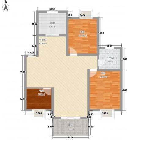 琴韵华庭3室1厅1卫1厨160.00㎡户型图