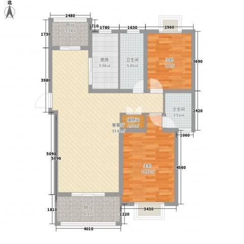 琴韵华庭2室1厅2卫1厨118.00㎡户型图