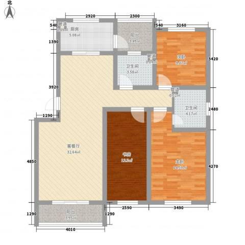 保利百合花园3室1厅2卫1厨130.00㎡户型图