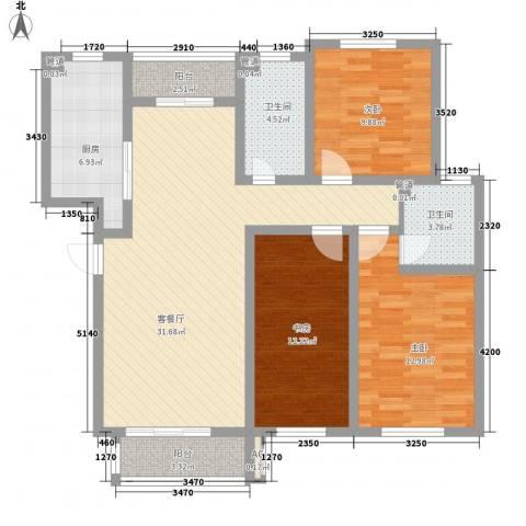 保利百合花园3室1厅2卫1厨129.00㎡户型图
