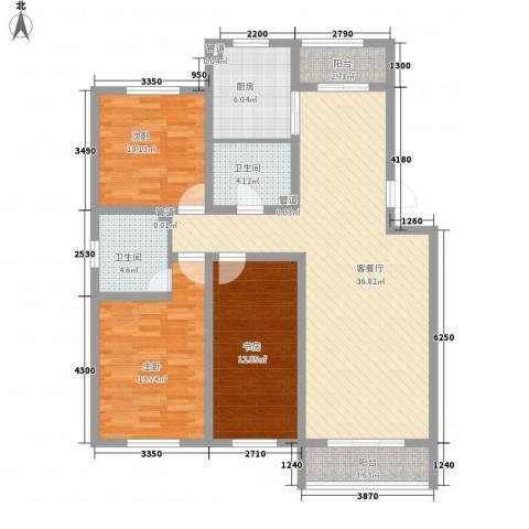 保利百合花园3室1厅2卫1厨137.00㎡户型图