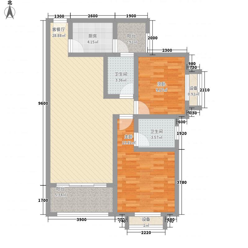 天元・东方锦泰85.12㎡一期C5/6/7#标准层C户型2室2厅2卫