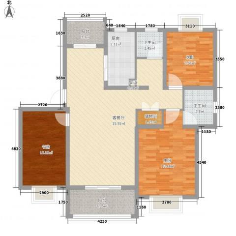 琴韵华庭3室1厅2卫1厨137.00㎡户型图