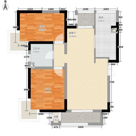 卫津领寓2室1厅1卫1厨94.00㎡户型图