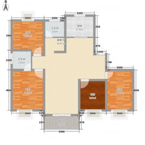 琴韵华庭4室1厅2卫1厨134.00㎡户型图