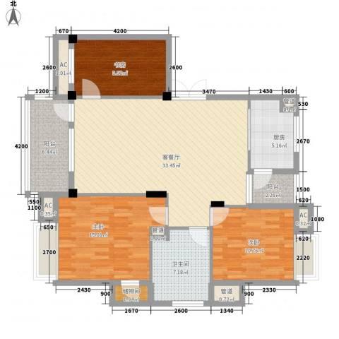 健逸天地恒星花园3室1厅1卫1厨106.00㎡户型图