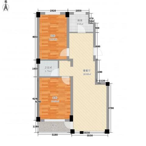 锦山秀城2室1厅1卫1厨88.00㎡户型图