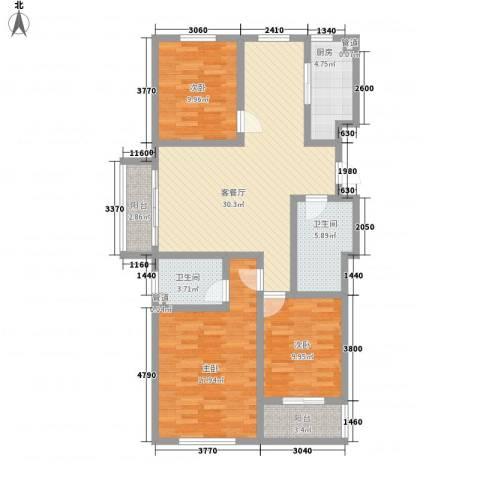 香格里拉3室1厅2卫1厨130.00㎡户型图