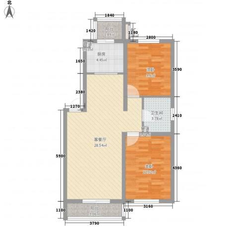 保利百合花园2室1厅1卫1厨92.00㎡户型图
